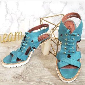 Missoni metallic blue lace up tennis shoe sandles